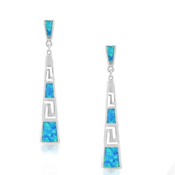 Blue Artificial Opal Silver Dangle Earrings