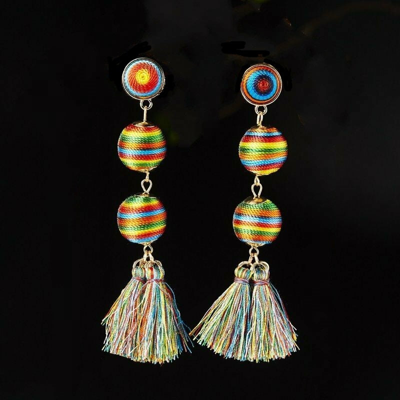 3 Ball Multi Color Mismatch Tassel Earrings