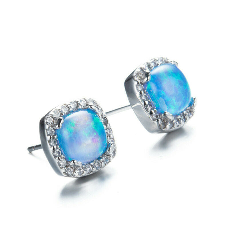 Blue Artificial Opal Silver Earrings