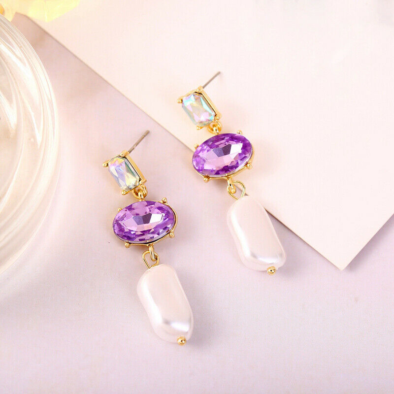 3 Stone Purple Oval Cut Rhinestone Faux Pearl Dangle Earrings