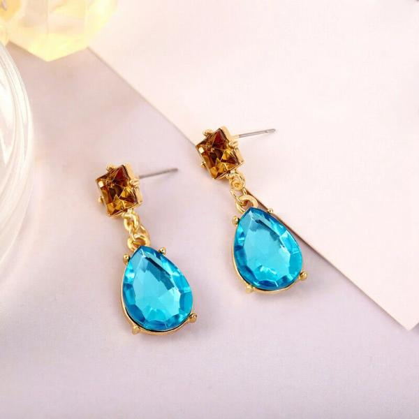 2 Stone Blue Teardrop Champagne Rhinestone Earrings