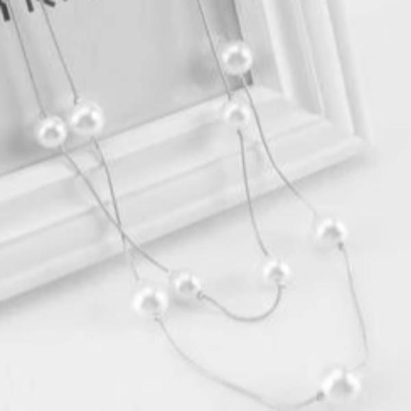 Faux Pearl Multi-layer Long Silver Necklace