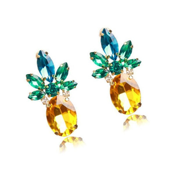 Pineapple Green Yellow Gold Crystal Earrings