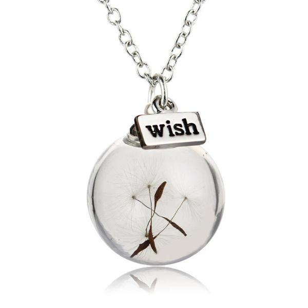 Wish Charm Real Dandelion Seeds Glass Bottle Pendant Necklace