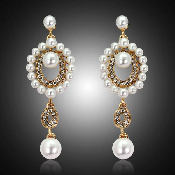 Rhinestone Faux Pearl Gold Bridal Evening Earrings