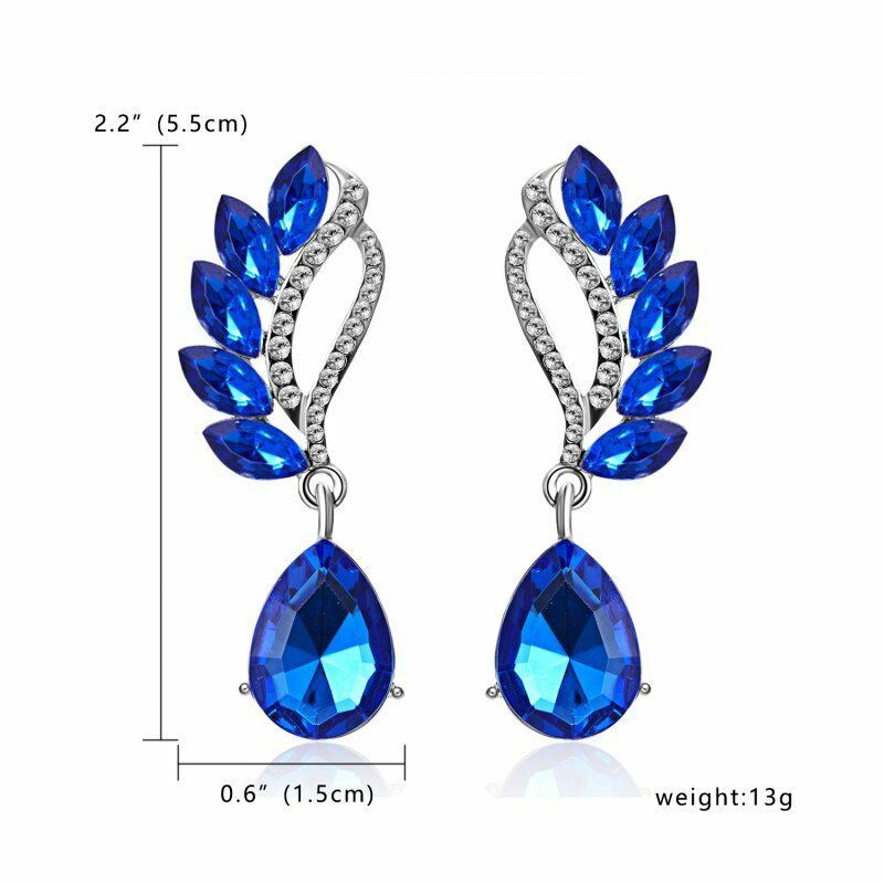 Blue Crystal Teardrop & White Rhinestone Dangle Earrings