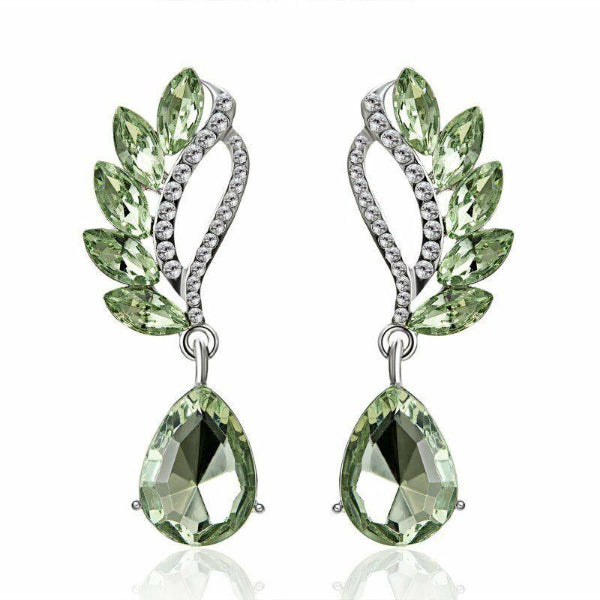 Light Green Crystal Teardrop & White Rhinestone Dangle Earrings