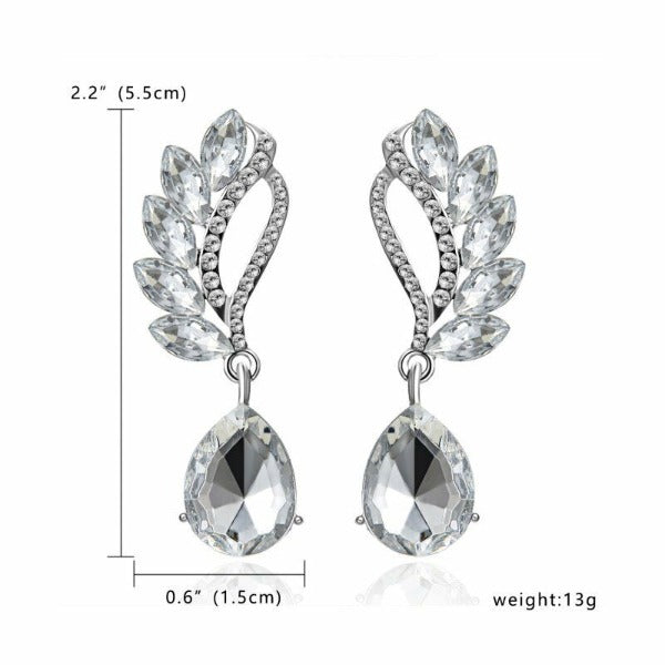 White Crystal Teardrop & White Rhinestone Dangle Earrings