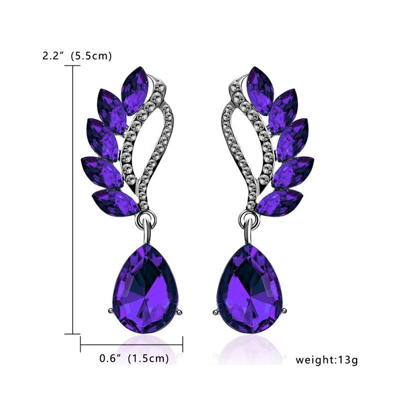 Purple Crystal Teardrop & White Rhinestone Dangle Earrings