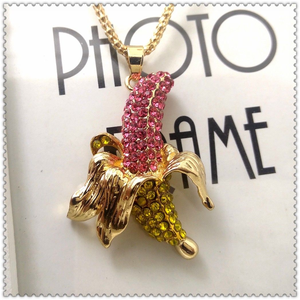 Betsey Jonson Pink & Yellow Banana Inlaid Crystals Necklace