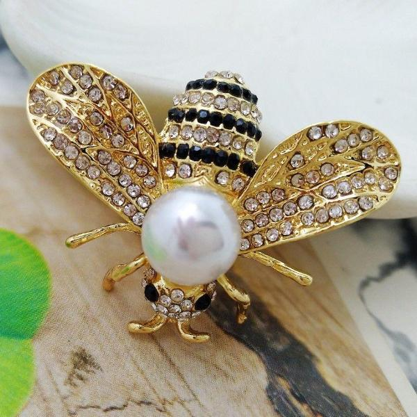Black & White Bumble Bee Crystal Brooch Pin
