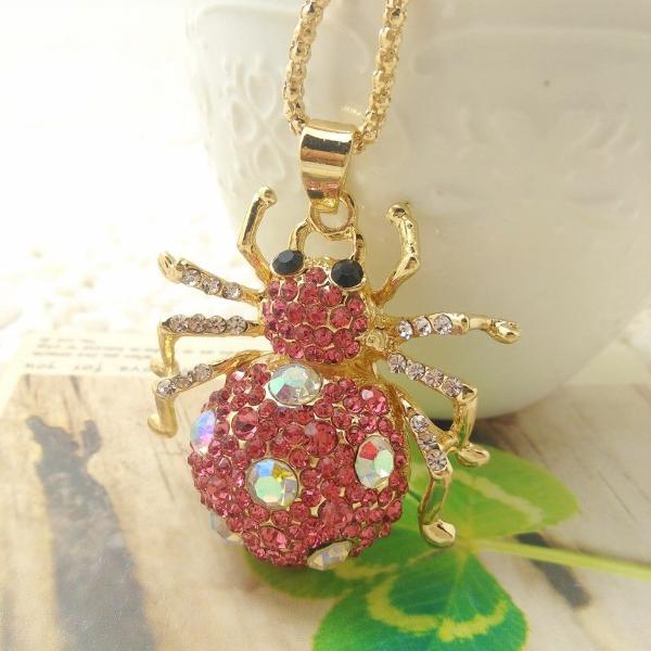 Pink & White Crystal Spider Pendant Halloween Necklace