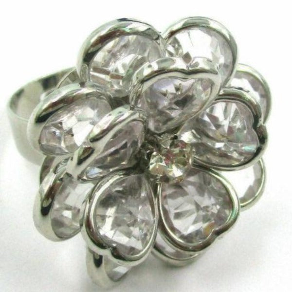 Flower with Rhinestone Adjustable Silver Tone Ring