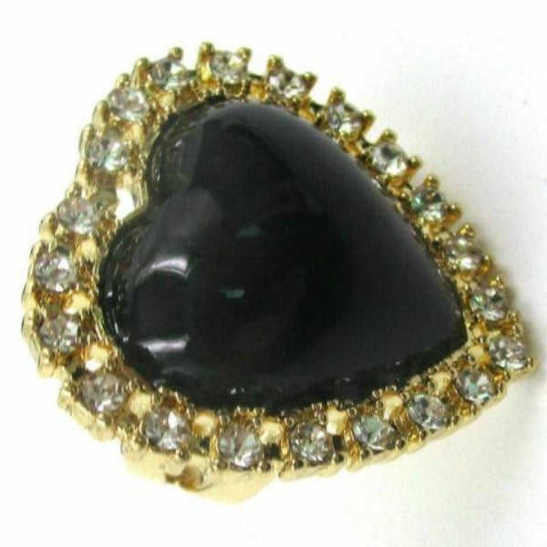 Heart Black Stone Rhinestone Ring Size 8