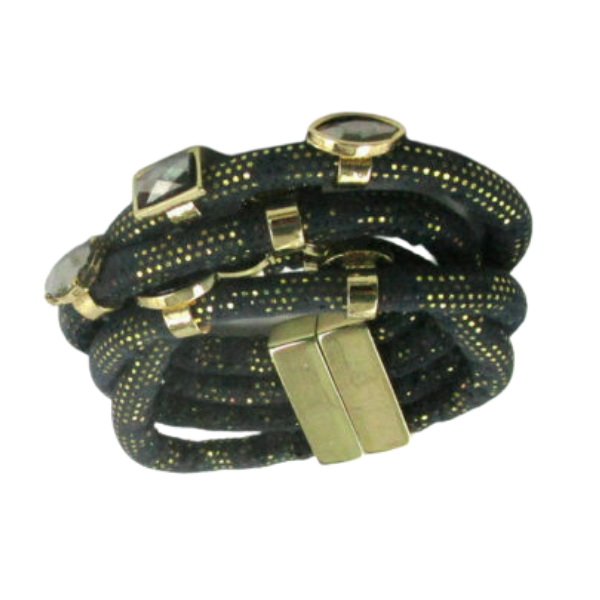 Black Fabric Rhinestone Gold Accent Bracelet