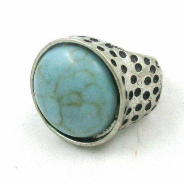 Round Turquoise (Faux) Silver Small Stretch Ring Fits 5 - 6.5