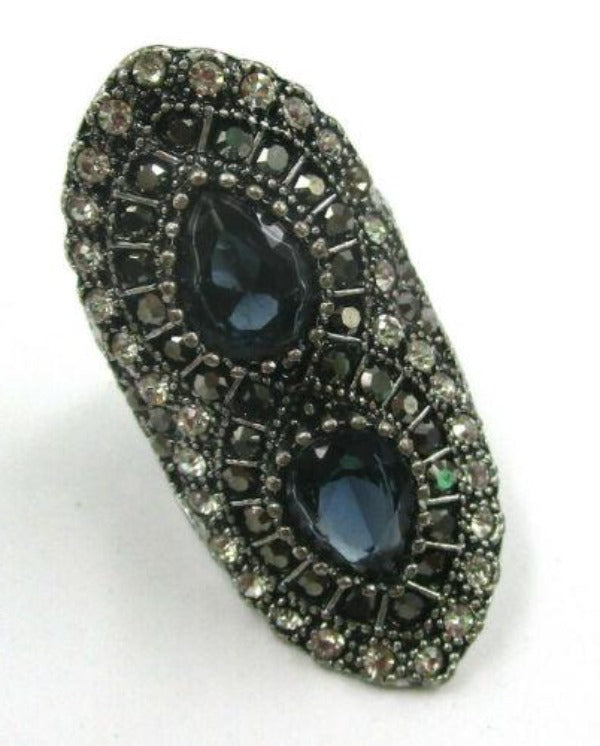 Blue & Black Rhinestone Fashion Ring Size 7