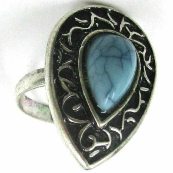 Blue Teardrop Silver Tone Ring Size 7