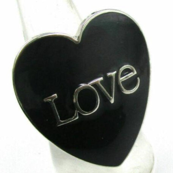 """Love"" Black Heart Shaped Silver Tone Ring Size 6"