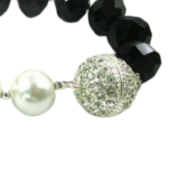 Pearl Black Beads Rhinestone Stretch Bracelet