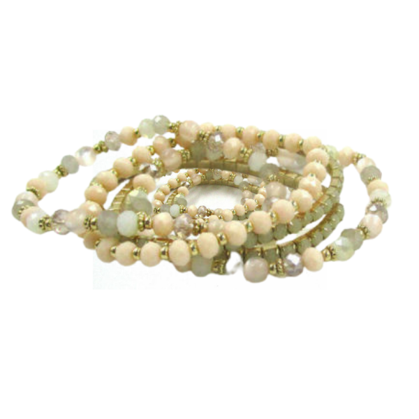 4 Piece Beaded Green Multi Colored Stretch Bracelets