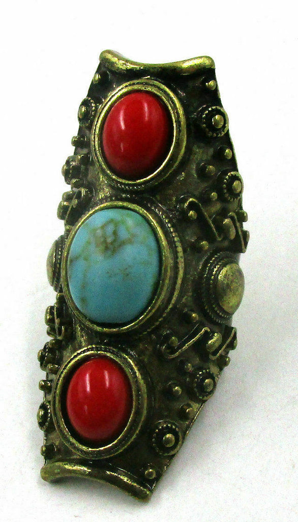Faux Blue & Red Turquoise Boho Western Ring Size 8