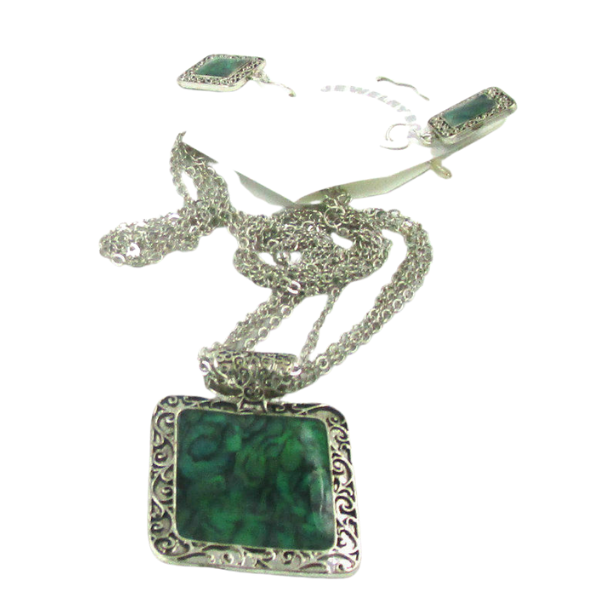 Green Square Silver Tone Necklace & Earrings