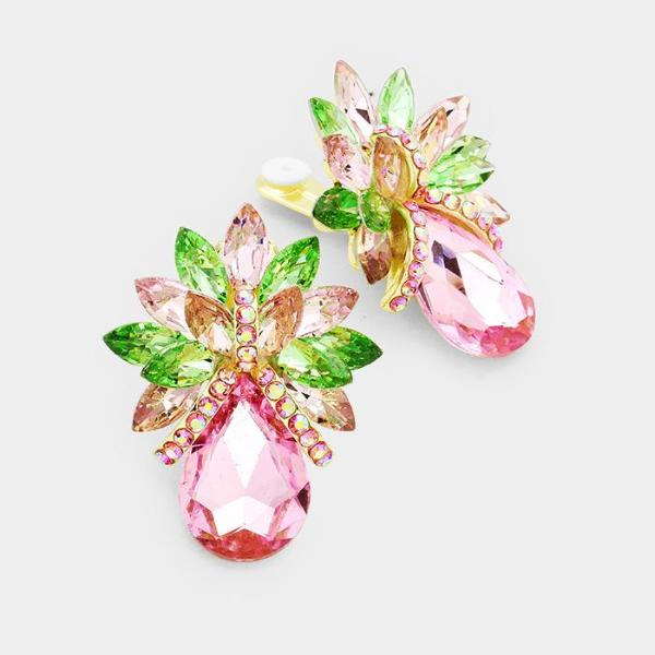 Pink & Green Crystal Petal Teardrop Cluster Clip-On Earrings