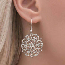 """Garden Glam"" Floral Pattern Silver Filigree Pierced Earrings"