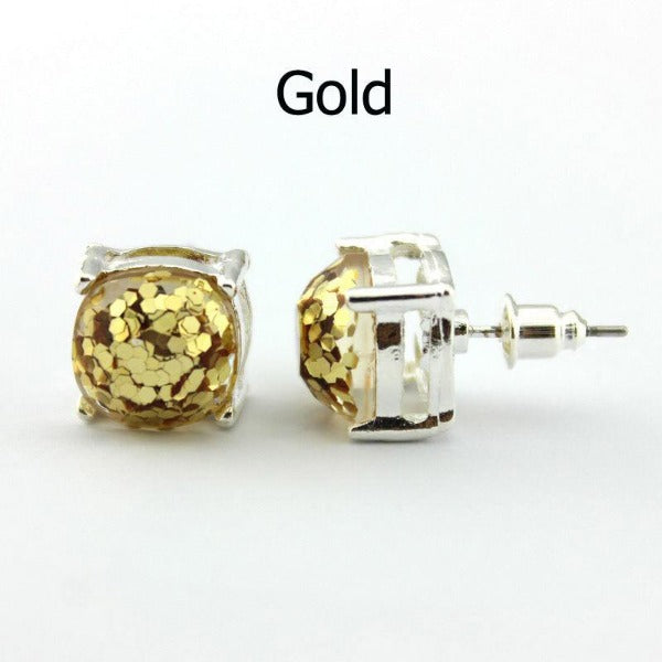 Gold Glitter Silver Tone Earrings