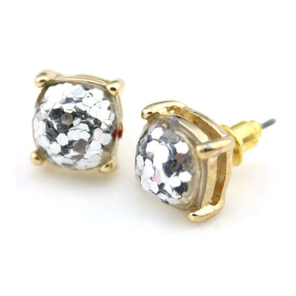 Silver Glitter Gold Tone Earrings