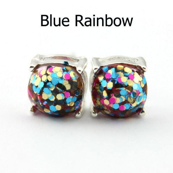 Blue Rainbow Glitter Silver Tone Earrings
