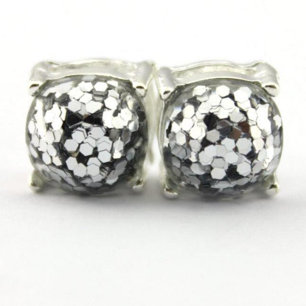 Silver Glitter Silver Tone Earrings