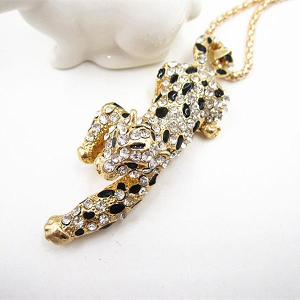 Betsey Johnson Leopard Cheetah Black Spots Crystal Necklace