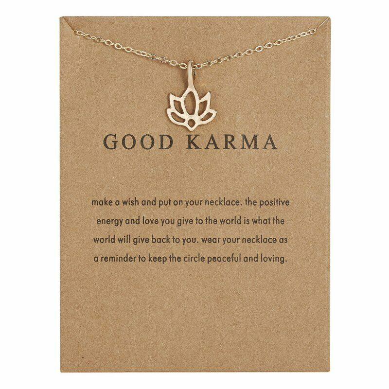 'GOOD KARMA' Note Card Gold Tone Flower Necklace