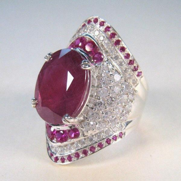 Simulated Ruby Oval Cut 2.85ct Silver Plated Ring Size 9