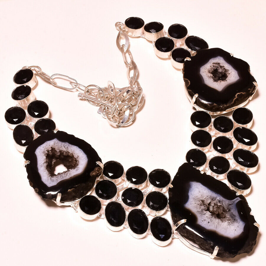 Black Botswana Agate, Black Spinel Silver Plated Necklace 18""