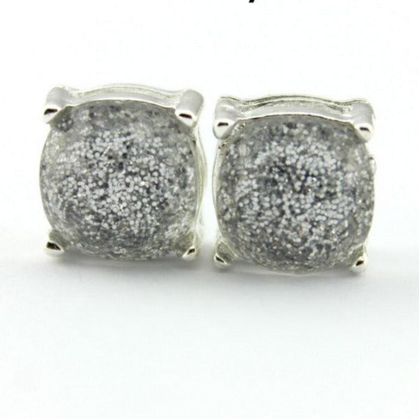 Gray Glitter Silver Tone Earrings