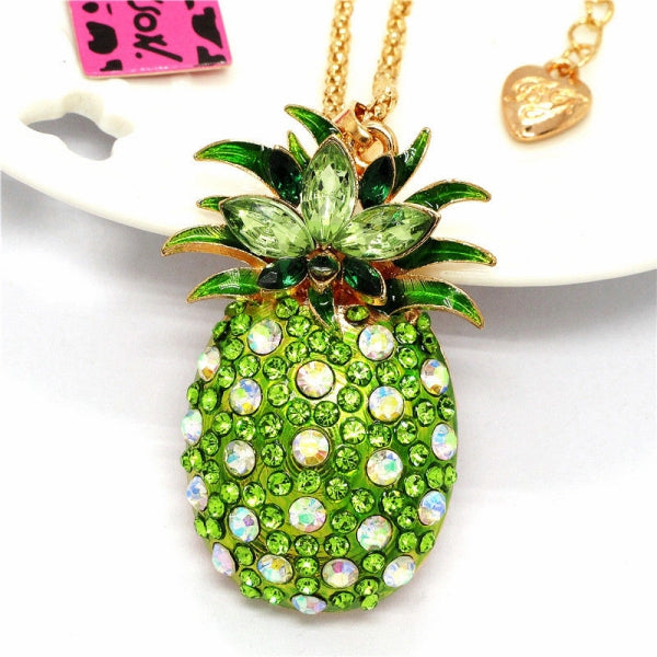 Betsey Johnson Green Crystal Golden Pineapple Gold Necklace
