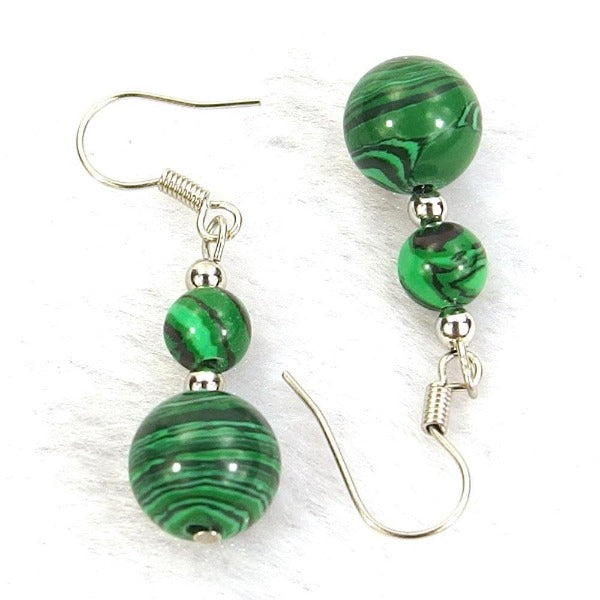 Green Malachite Natural Gemstone Silver Earrings