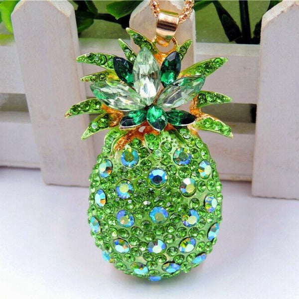 Betsey Johnson Green Crystal Pineapple Gold Pendant Necklace