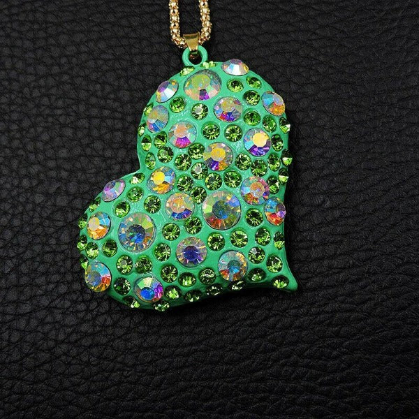 Betsy Johnson Green Heart With Crystals Gold Pendant Necklace