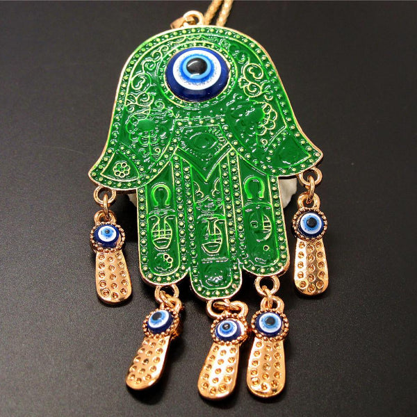 Betsey Johnson Green Enamel Palm Turkish Evil Eye Necklace