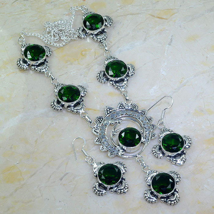 Unique Green Quartz Handmade Silver Plated Necklace & Earrings Set