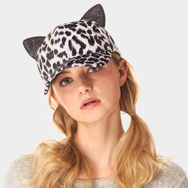 Leopard Print Cat Ear Hat