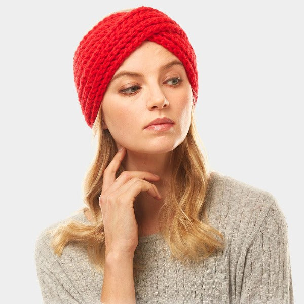 Red Solid Twisted Soft Knit Earmuff Headband