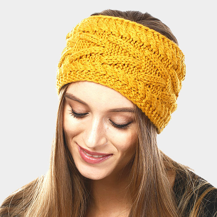 Mustard Yellow Solid Cable Knit Earmuff Headband