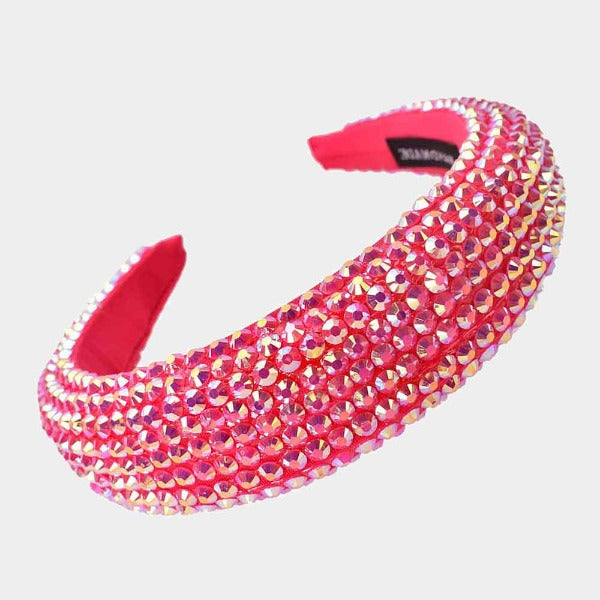 Fuchsia Faceted Bead Padded Headband