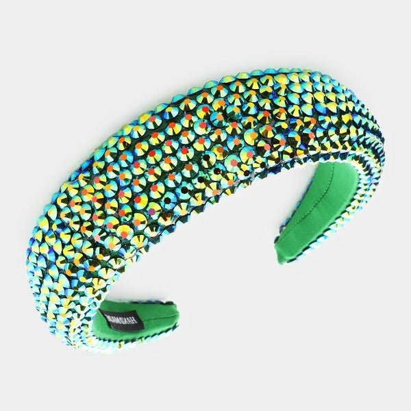 Green Faceted Bead Padded Headband