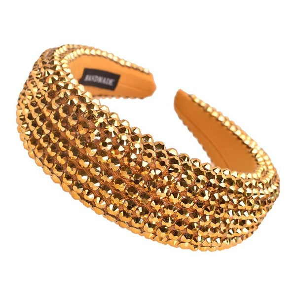 Gold Faceted Bead Padded Headband